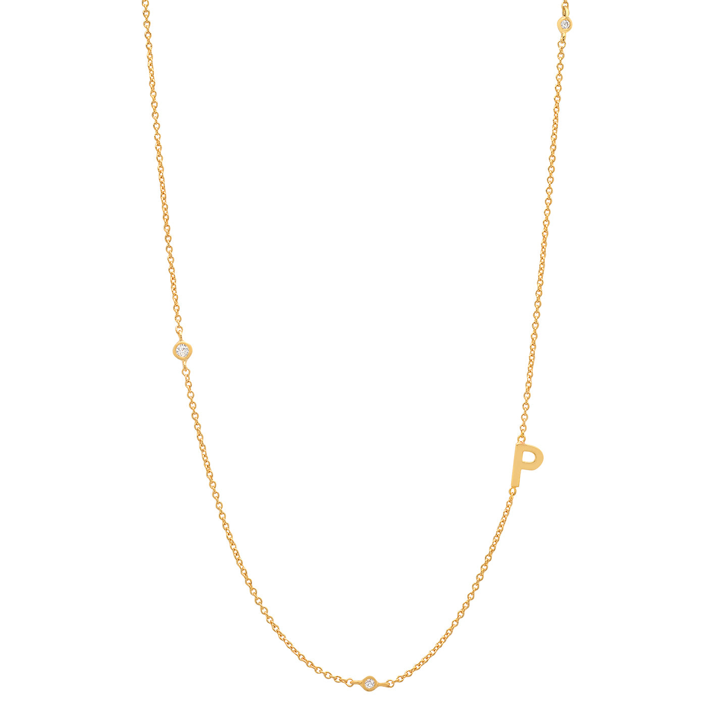 Sideways Initial Gold Necklace with CZ accents
