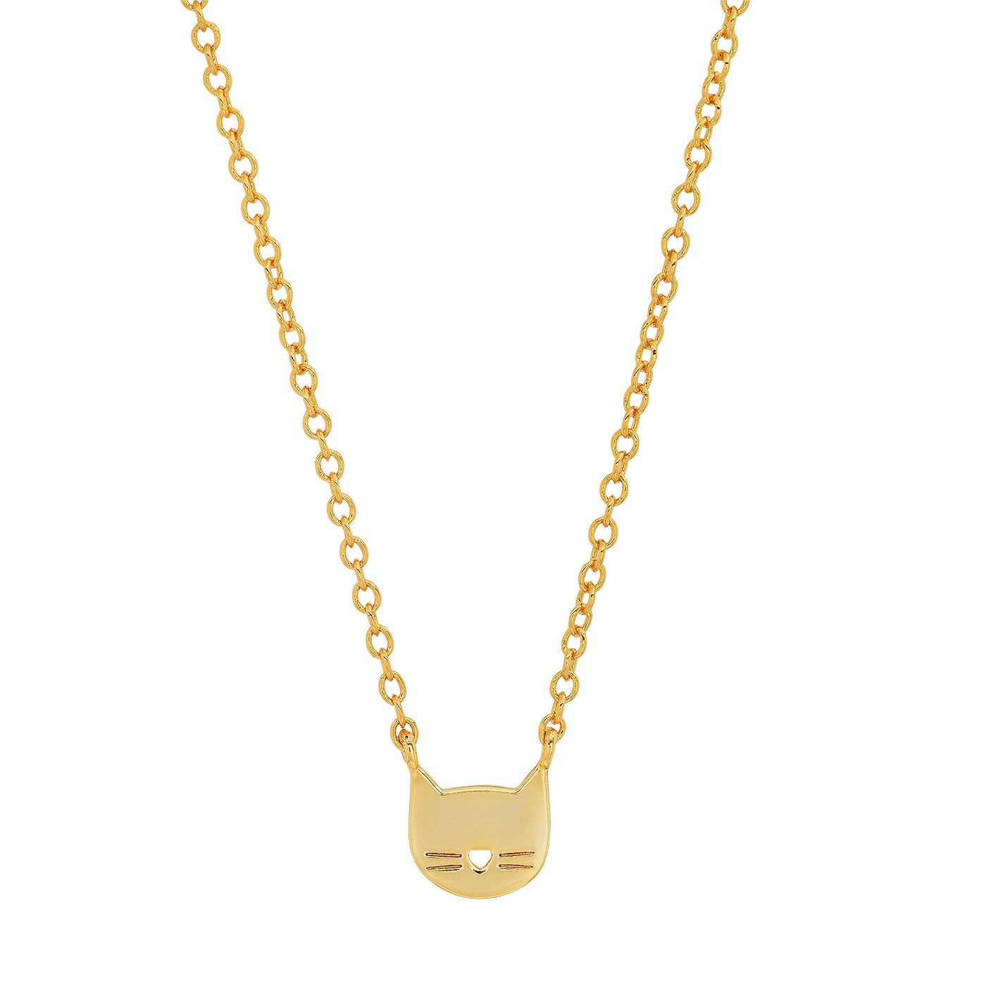 Whimsical Gold Cat Pendant Necklace