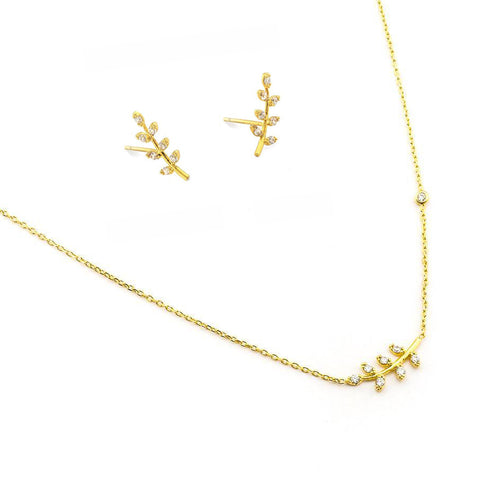 Combo Set: LEAF EARRINGS + CZ LEAF NECKLACE