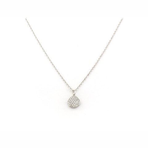 CZ WAVY DISC PENDANT NECKLACE
