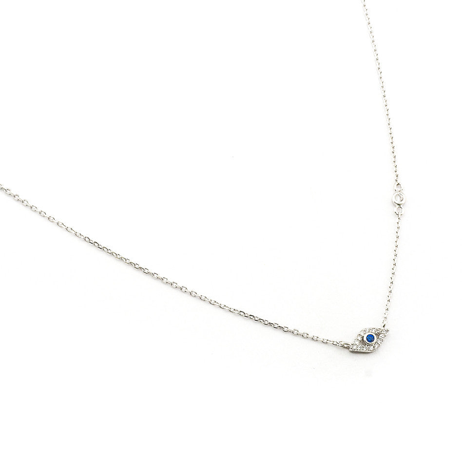 CZ MINI EVIL EYE PENDANT NECKLACE