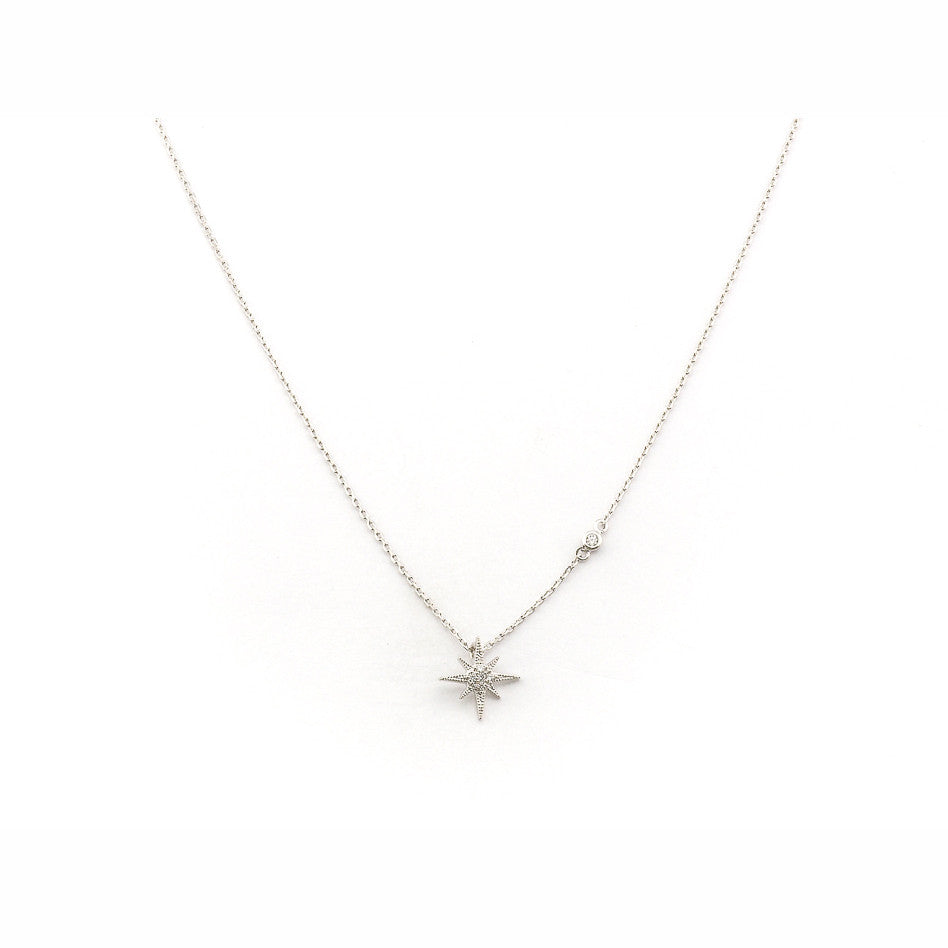 CZ STARBURST PENDANT NECKLACE
