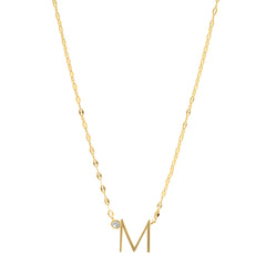 Medium Sized Initial Necklace with CZ Accent