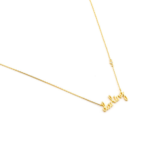 "SIMPLE CHAIN WITH ""DARLING"" NAME PLATE PENDANT"
