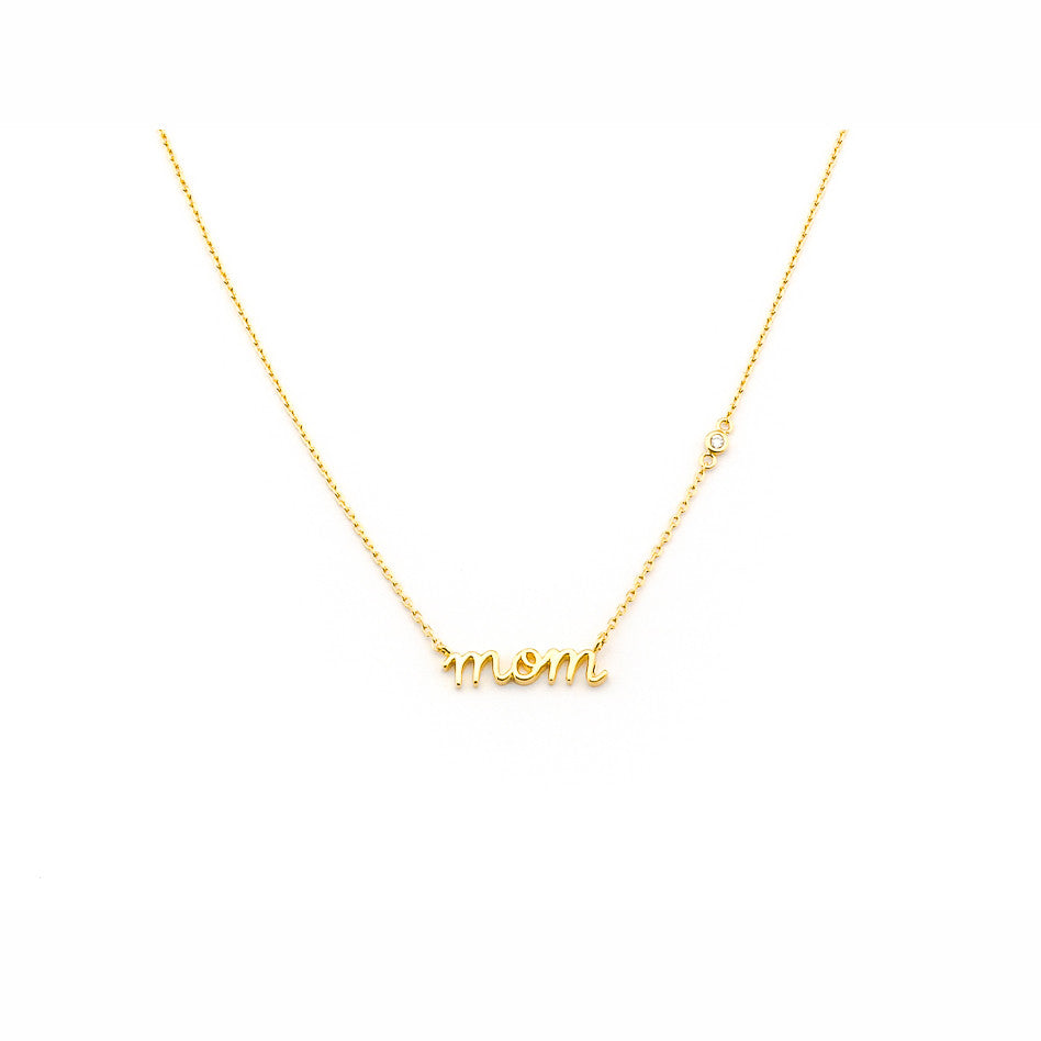 "SIMPLE CHAIN WITH ""MOM"" NAME PLATE PENDANT"