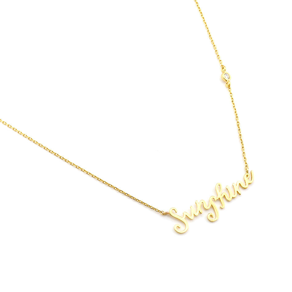 "GOLD SIMPLE CHAIN NECKLACE WITH ""SUNSHINE"" SCRIPT LETTERING"