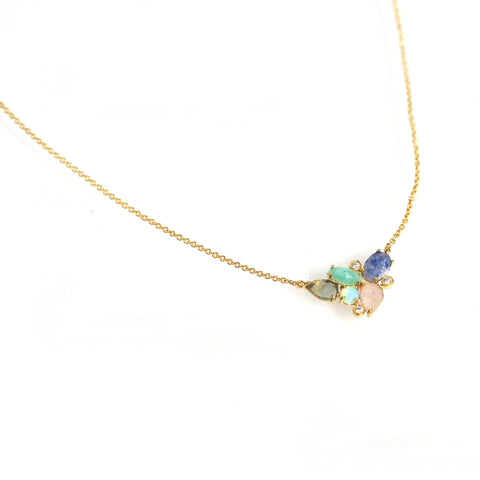 Multi-Stone Cluster Necklace