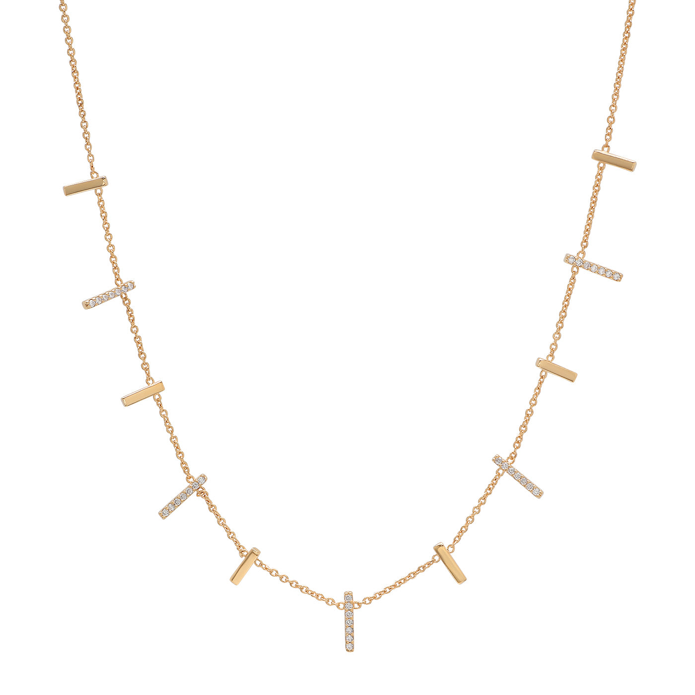 Gold and Pave CZ Stick Necklace