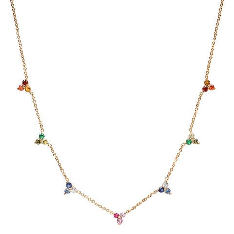 Rainbow Ombre Cluster Necklace