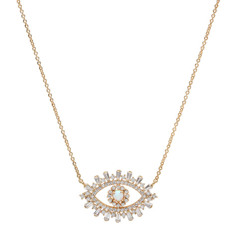 Evil Eye Necklace with Opal Center and Baguette CZ's