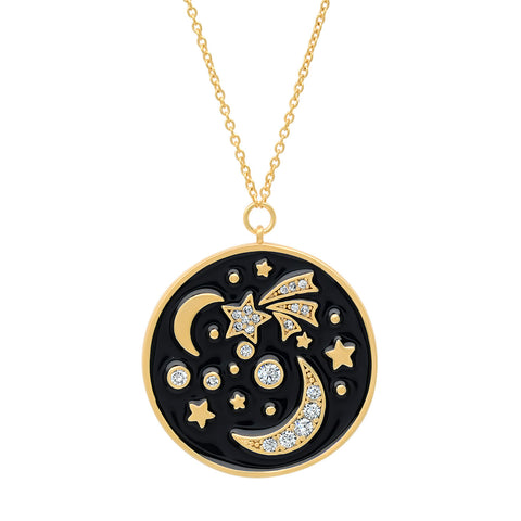 Enamel Galaxy Coin Necklace