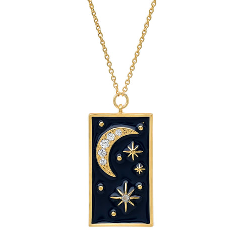Rectangular Galaxy Pendant Necklace