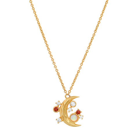 Crescent Moon Pendant with Twinkling Star Accents