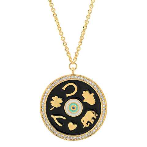 Enamel Luck Pendant Gold Necklace