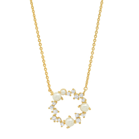 Pearl and CZ Open Circle Pendant Necklace