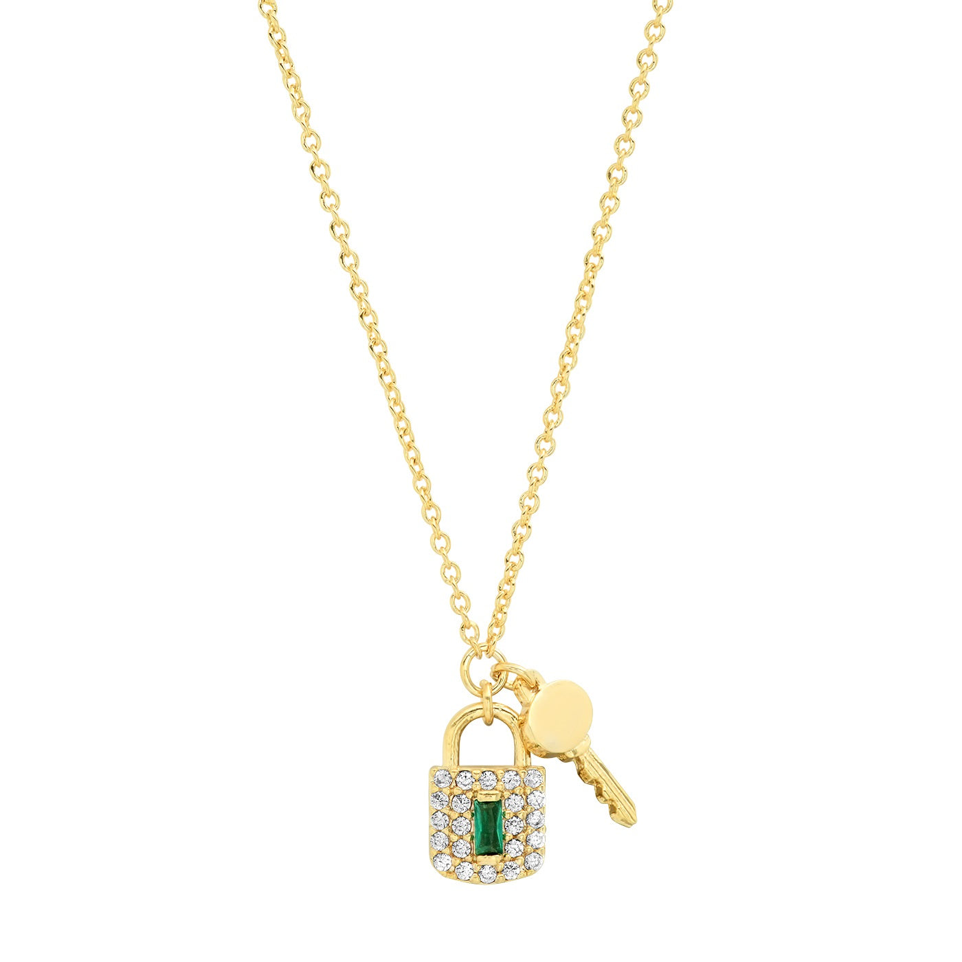 Pave Lock and Key Charm Necklace with Green Accent Stone