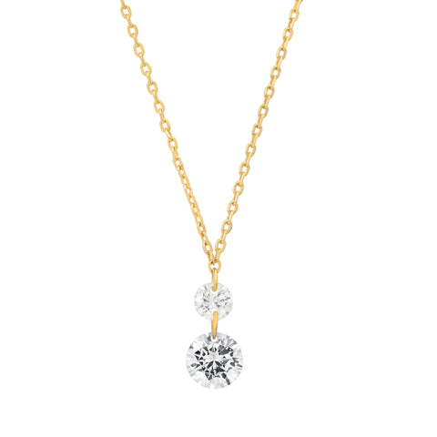 Two Stone Floating CZ Pendant Necklace