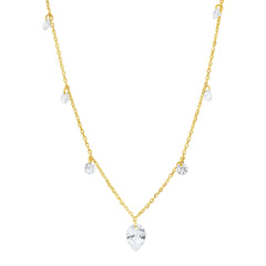 Floating CZ Station Necklace with Pear Shaped CZ Pendant