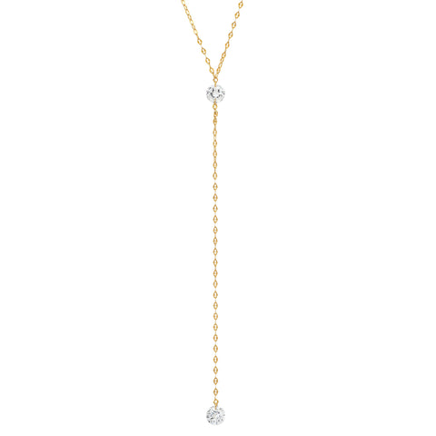Floating CZ Y Necklace
