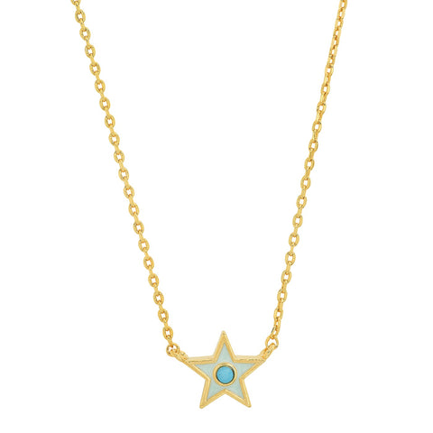 Light Blue Enamel Star Pendant Necklace