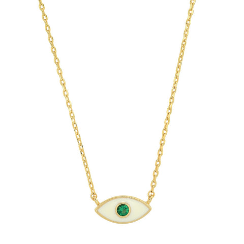 White Enamel Tear Eye Pendant Necklace