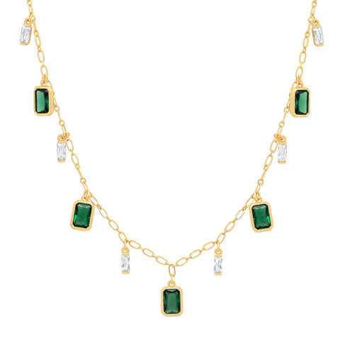 Emerald and Clear CZ Charm Necklace