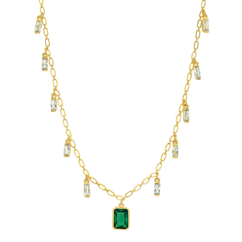 Emerald Baguette Dangle Necklace