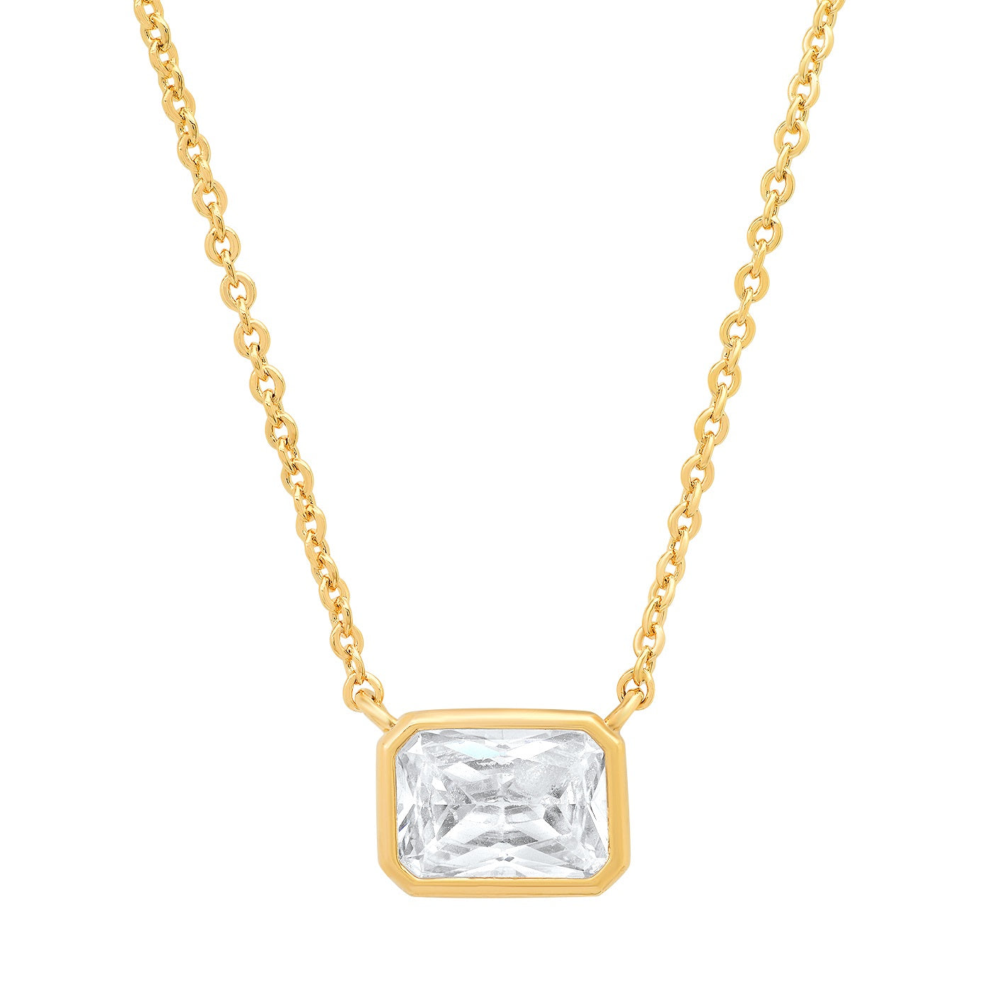 Bezel Set Emerald Cut CZ Pendant Necklace