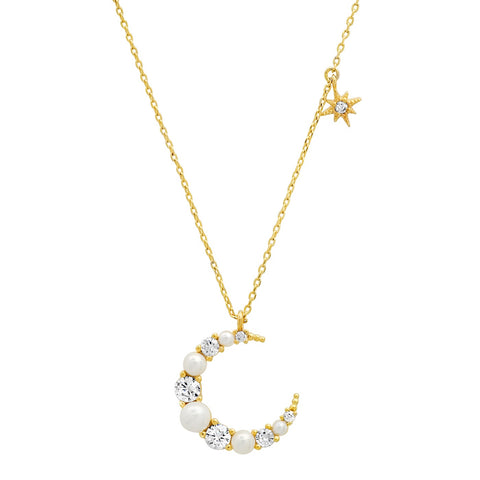 Pearl and CZ Crescent Moon Pendant