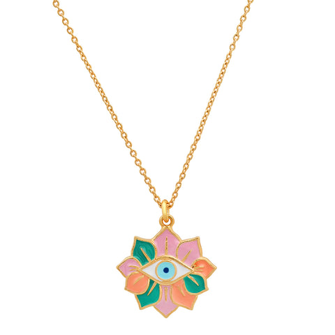Enamel Evil Eye Necklace with Flower Accent
