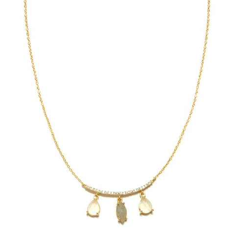 Gold Necklace w/ CZ Bar & 3 Stones