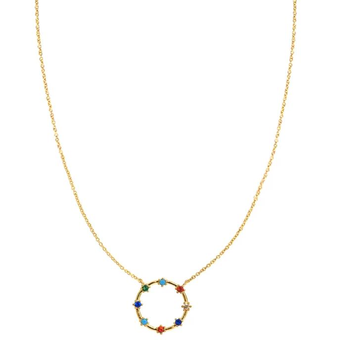 Gold Necklace w/ Circle & 8 Stone Accents