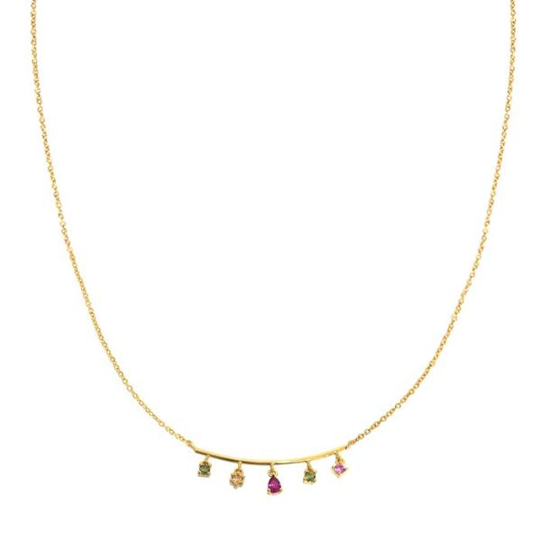 Gold Necklace w/ Bar & 5 Multi Color Stone Accent