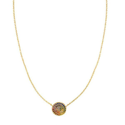 Rainbow Small Circle Necklace