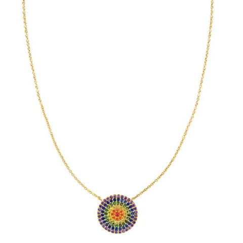 Rainbow Large Circle Necklace