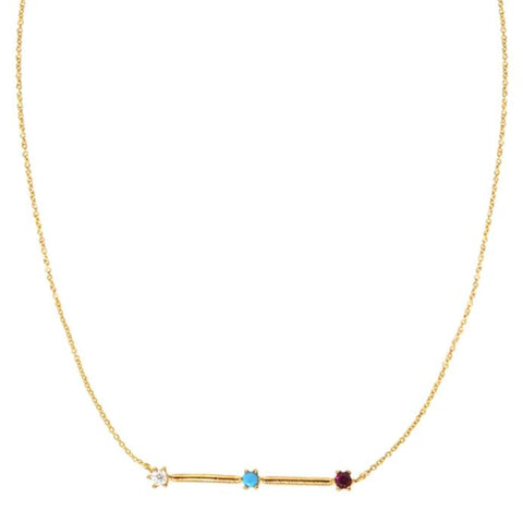 Bar Necklace w/ 3 Tiny Stones