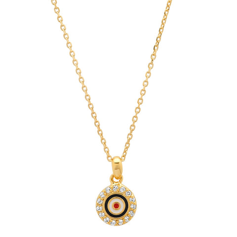 Small Enamel Evil Eye Pendant Necklace