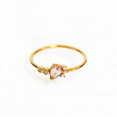 Thin Gold Band with Tear Drop Crystal and CZ Accent Stones