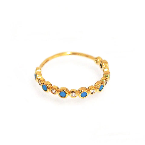 Gold Ring with CZ and Turquoise Bezel Set Stones