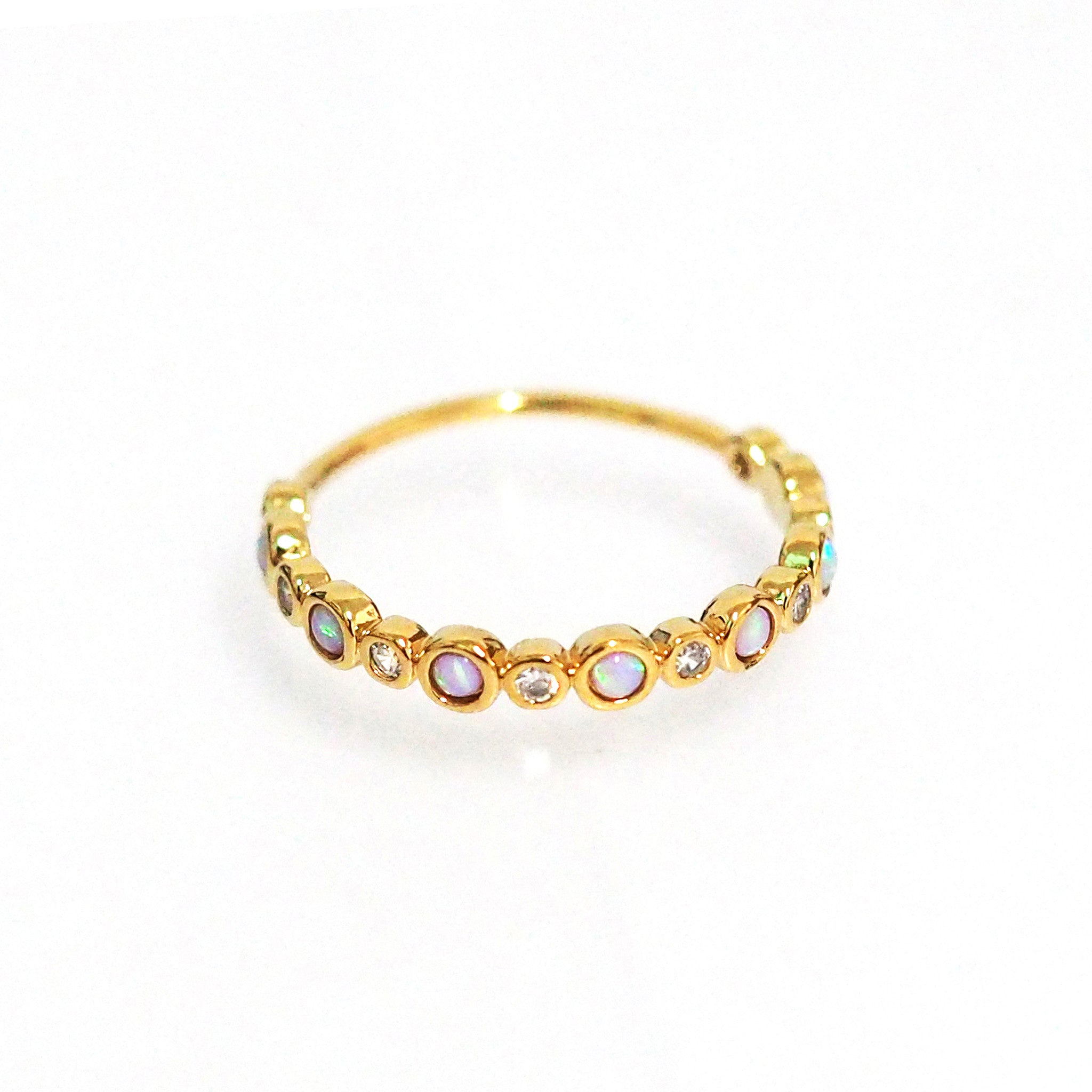 Gold Ring w Bezel Set CZ and Opal Stones