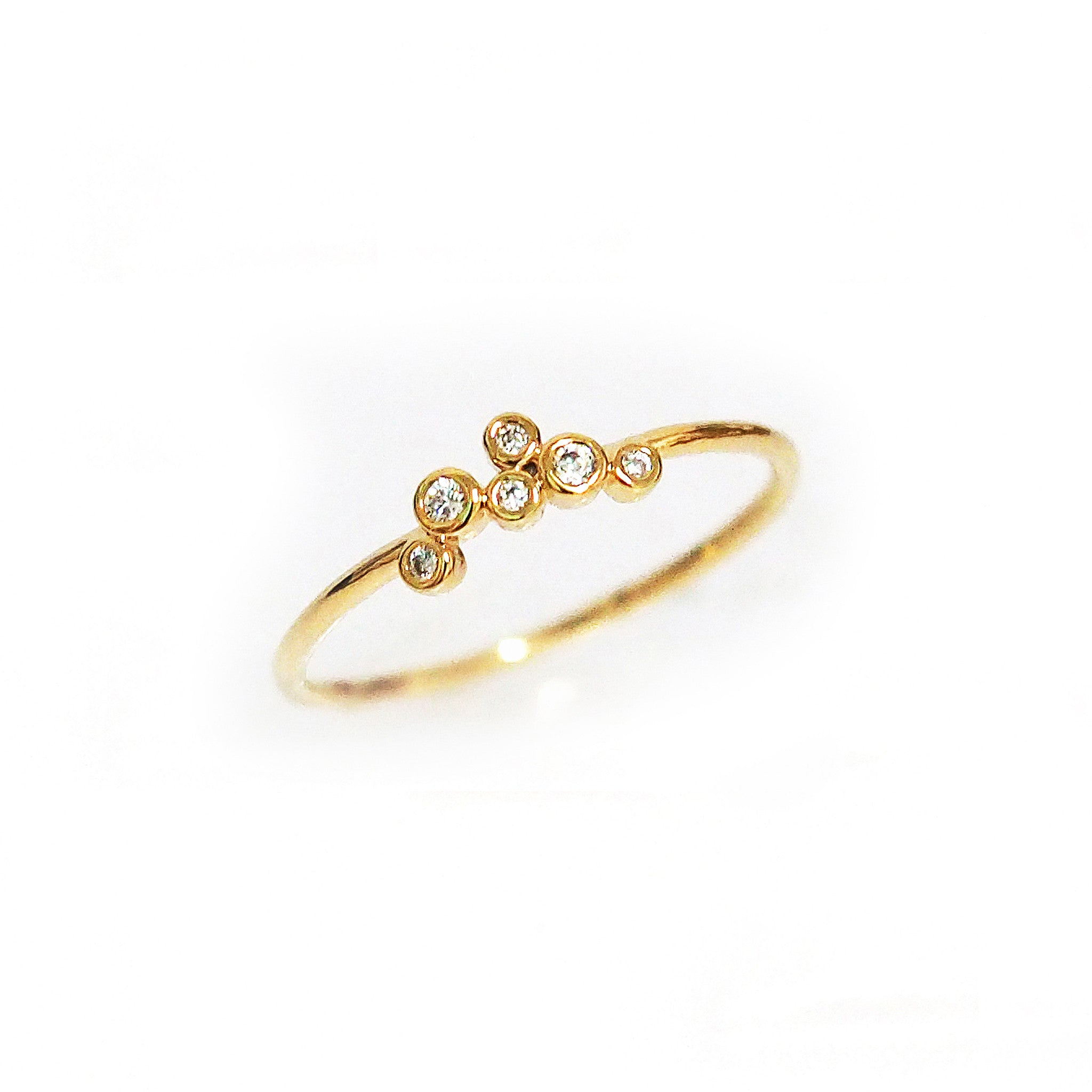 Gold Ring with 6 CZ Cluster