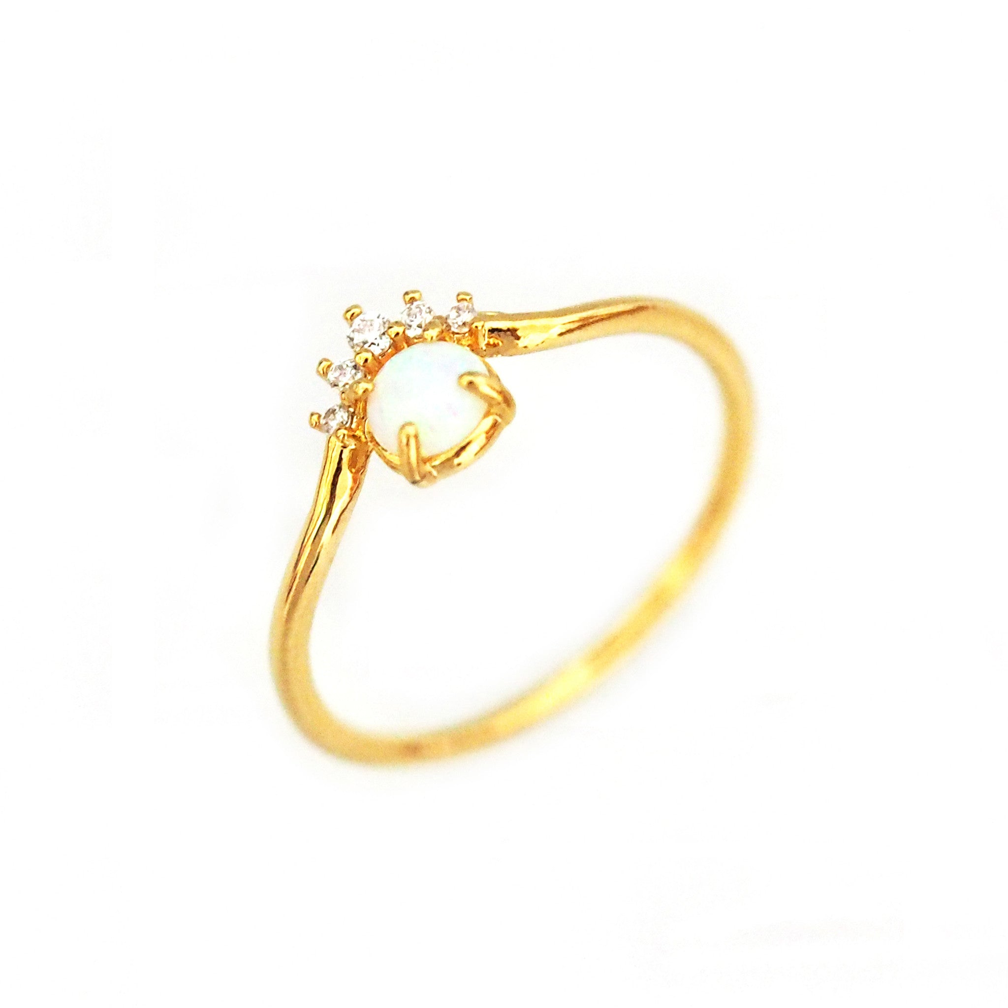 Gold Ring with Opal and CZ Accent