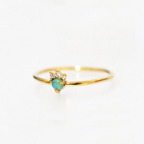 Thin Gold Band with Opal and Triple CZ Crown