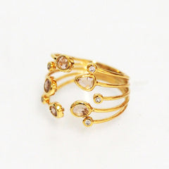 Adjustable Gold Multi Peach Stone Wrap Ring
