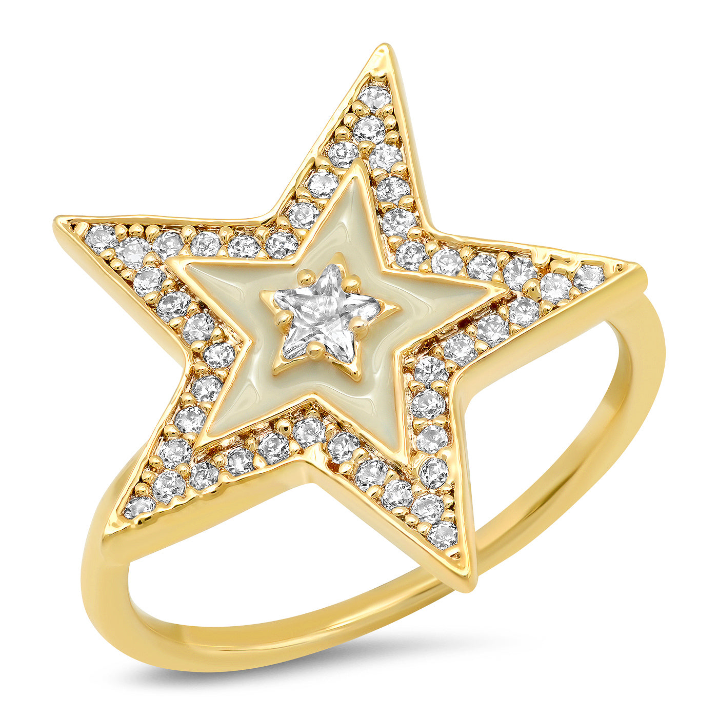 Enamel Pave Star Ring