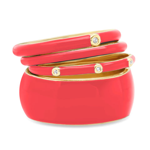 Set of 4 Enamel Stack Ring Set