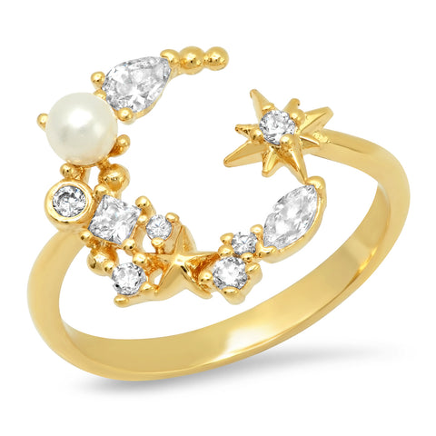 Moon and Star Pearl Ring