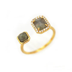 Adjustable Gold Ring w Labradorite Stones and CZ Accents