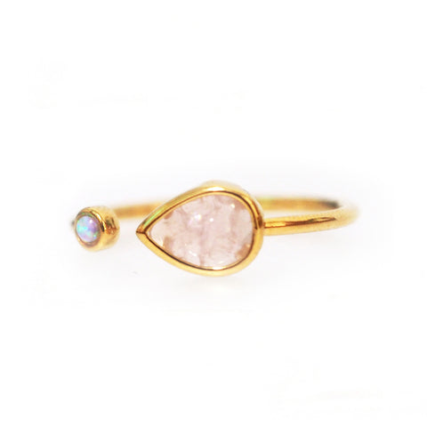 Adjustable Gold Ring with Opal and Rose Teardrop stone