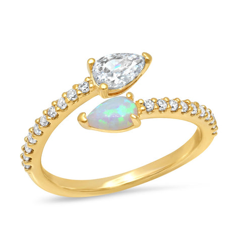 Pear Shaped Opal and CZ Ring